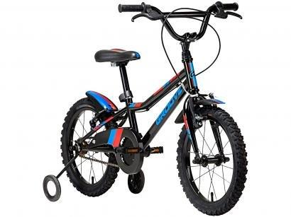 """Bicicleta Infantil Aro 16"""" Groove Ragga Preta - com Rodinhas Freio V-Break"""