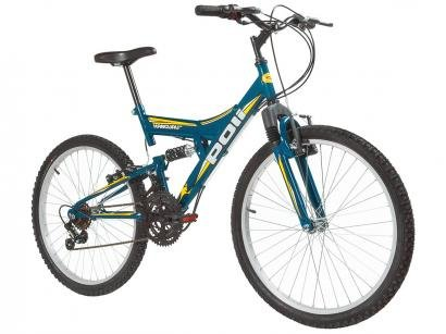 Bicicleta Aro 24 Mountain Bike Polimet Kanguru - Full Suspension Freio V-Brake...
