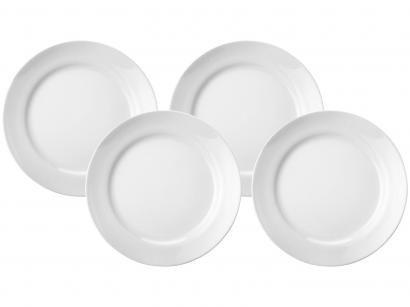 Jogo de Pratos Redondo Porcelana Branco Sobremesa - 4 Peças