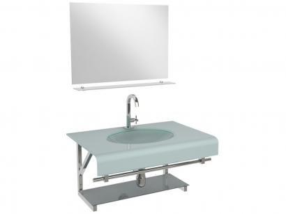 Gabinete para Banheiro de Vidro com Cuba e Espelho - VB Cristais VB2010/60BR