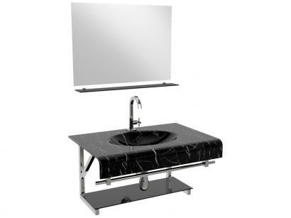 Gabinete para Banheiro de Vidro com Cuba e Espelho - VB Cristais VB2010/80MPR