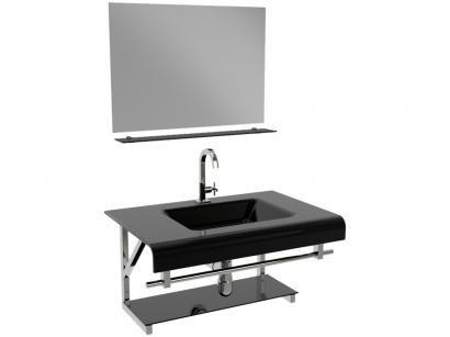 Gabinete para Banheiro de Vidro com Cuba e Espelho - VB Cristais VB2011/70PR