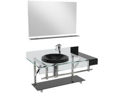Gabinete para Banheiro de Vidro com Cuba e Espelho - VB Cristais Premium VB2014/90PR
