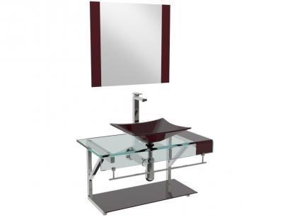 Gabinete para Banheiro de Vidro com Cuba e Espelho - VB Cristais Premium...