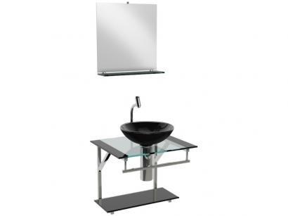 Gabinete para Banheiro de Vidro com Cuba e Espelho - VB Cristais Advance VB2021/50PR