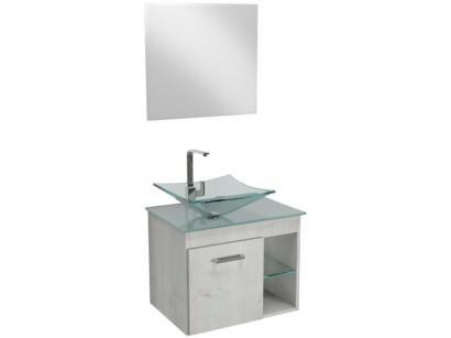 Gabinete para Banheiro de Vidro com Cuba e Espelho - 1 Porta 2 Gavetas VB Cristais VB5034