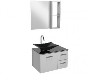 Gabinete para Banheiro de Vidro com Cuba e Espelho - 1 Porta 2 Gavetas VB Cristais VB5038D