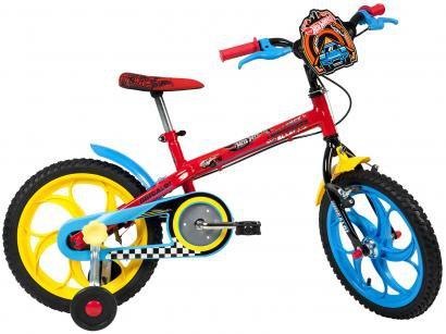 Bicicleta Infantil Aro 16 Caloi Hot Wheels - 1 Marcha com Rodinhas