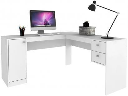 Escrivaninha de Canto 2 Gavetas 1 Portas - Hecol Móveis Home Office HO-2935