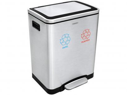 Lixeira Inox para Cozinha com Pedal 30L - Tramontina Plus Quadratta