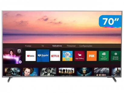 "Smart TV 4K LED 70"" Philips 70PUG6774/78 Wi-Fi - HDR Conversor Digital 4 HDMI 2 USB"