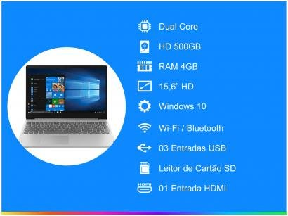 "Notebook Lenovo Ideapad S145-15IGM - Intel Dual Core 4GB 500GB 15,6"" Windows 10"