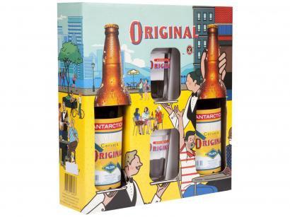 Kit Cerveja Antarctica Original 600ml 2 Unidades - com 2 Copos
