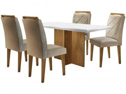 Mesa de Jantar 4 Cadeiras Retangular Rufato - Berlim Melis