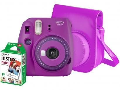 Kit Instax Mini 9 Fujifilm Roxo Açaí - Flash Automático com Acessórios