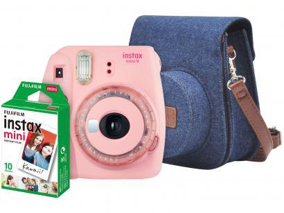 Kit Instax Mini 9 Fujifilm Rosa Chiclé - Flash Automático com Acessórios
