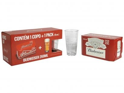 Kit Cerveja Budweiser American Standard Lager - 269ml Cada 8 Unidades com 1 Copo
