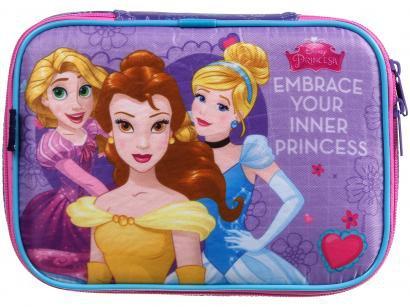 Estojo Escolar Princesas Lilas com Zíper - Soft Luxo Disney Dermiwil