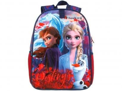 Mochila Infantil Escolar Feminina Frozen 2 - Tam. G Dermiwil Easy Azul e Vermelha