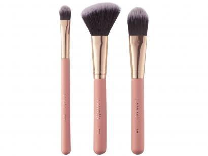 Kit de Pincéis de Maquiagem Lanossi Rose Gold - LS3011 3 Unidades