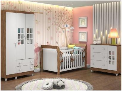 Quarto de Bebê Completo com Berço Guarda-Roupa - e Cômoda Carolina Baby Maria