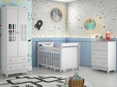 Quarto de Bebê Completo com Berço + Guarda-Roupa - e Cômoda Carolina Baby Maria