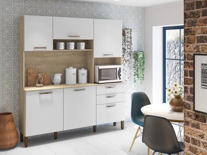 Cozinha Compacta Kits Paraná Ferrara - Nicho para Micro-ondas 6 Portas 2 Gavetas