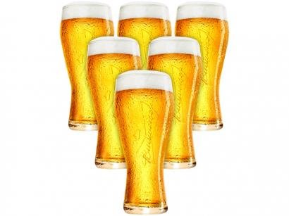 Jogo de Copos de Vidro para Cerveja Transparente - 400ml 6 Peças Ambev Budweiser