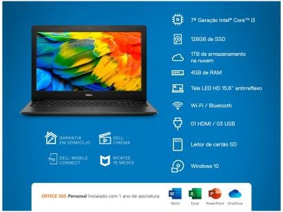 "Notebook Dell Inspiron 15 3000 3584ML1P - Intel Core i3 4GB 128GB SSD 15,6""..."