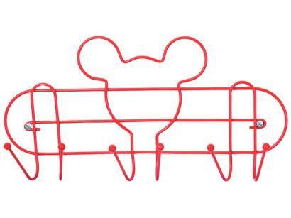 Cabideiro de Parede Vermelho 6 Ganchos Arthi - Disney Mickey Mouse