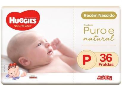 Fralda Huggies Premium Puro e Natural Noturna - Tam. P 0 a 6kg 36 Unidades