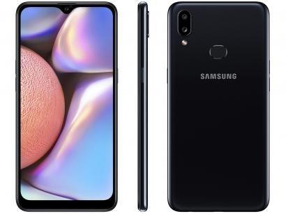 "Smartphone Samsung Galaxy A10s 32GB Preto 4G - Octa-Core 2GB RAM 6,2"" Câm. Dupla + Selfie 8MP"