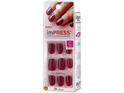 Unhas Postiças Autocolante Kiss New York Impress - Color Easy Breezy Vermelho...