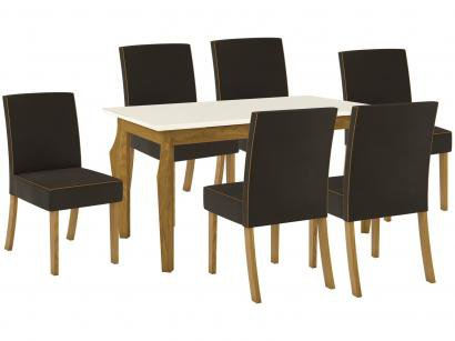 Mesa de Jantar 6 Lugares Retangular Tampo de Vidro - Henn Sofia