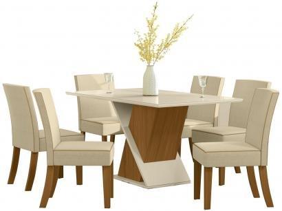 Mesa de Jantar 6 Lugares Retangular Tampo de Vidro - Henn Marina