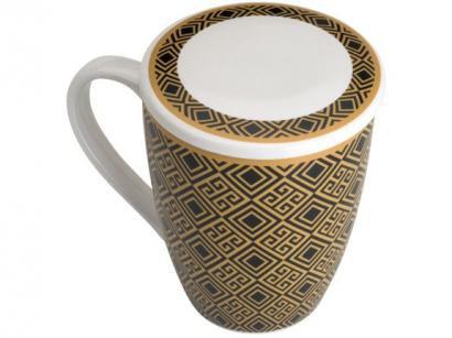 Caneca Chá e Café com Tampa e Filtro Porcelana - Preta e Dourada 310ml Lyor...