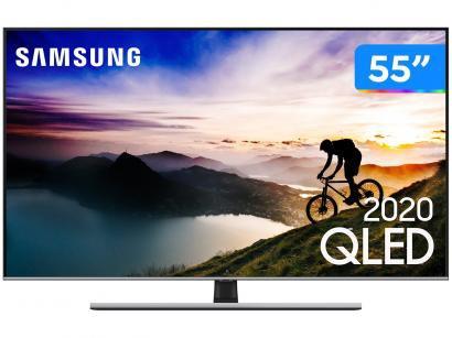 "Smart TV 4K QLED 55"" Samsung Q70TA Wi-Fi Bluetooth - Pontos Quânticos HDR Alexa Built In Modo Ambiente"