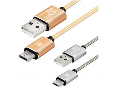 Cabo Micro USB 1m e 2m Carga Rápida - Easy Mobile CBPROMMI2DD 2 Unidades