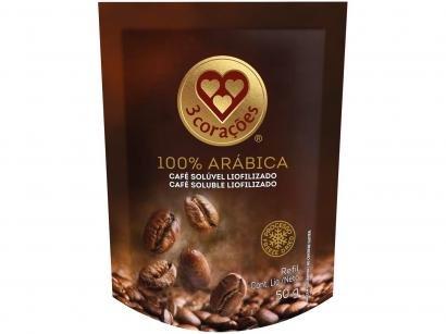 Café Solúvel Liofilizado 100% Arábica 3 Corações - Refil 50g
