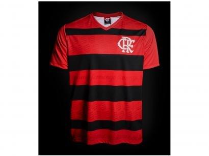 Camisa Masculina Flamengo Manga Curta - Vermelho e Preto
