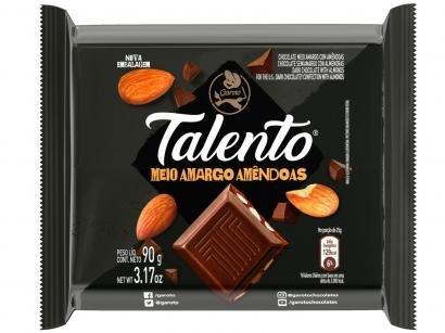 Barra de Chocolate Talento Amêndoas Meio Amargo - 90g 12 Unidades Garoto