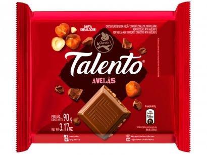 Barra de Chocolate Talento Ao Leite com Avelãs - 90g 12 Unidades Garoto