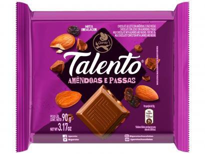 Barra de Chocolate Talento Ao Leite com Amêndoas e - Passas 90g 12 Unidades Garoto