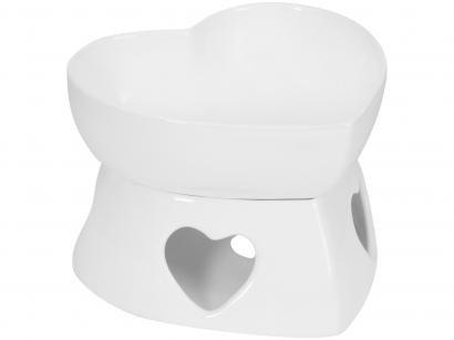 Aparelho de Fondue Cerâmica Scalla Branco - 2 Peças Funny Coração