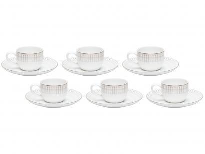 Jogo de Xícaras de Café Porcelana 90ml Wolff - Bone China Kiev 6 Peças