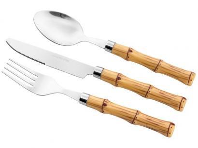 Faqueiro Bon Gourmet Inox Bambu - com Organizador de Talher 24 Peças