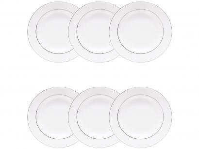 Jogo de Pratos Redondo Porcelana Branco Fundo - de Sopa Wolff Nice Silver 6 Peças