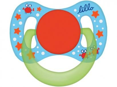 Chupeta Silicone Ortodôntico Lillo Baby Funny - Azul 6 Meses