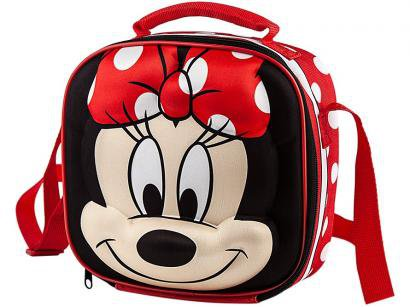 Lancheira Infantil 3D Escolar Minnie Mouse - Vermelha e Preta Lillo Baby Care Disney