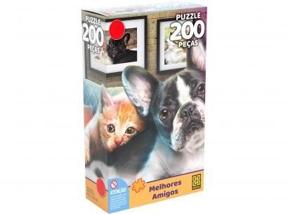 Quebra-cabeça 200 Peças Animais Puzzles Infantis - Melhores Amigos Grow